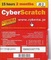 JORDAN - Cyberia Internet Prepaid Card JD 2(glossy Surface, 15 Hours-2 Months), Tirage %25000, Used - Jordania