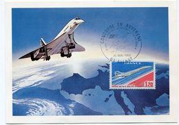 CARTE CONCORDE AVEC OBLITERATION CONCORDE EN AUVERGNE 1er VOL CLERMONT-FERRAND - CASABLANCA 20 MAI 1983 AULNAT - Concorde