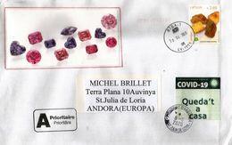 """Gemme,Ambre (pierres Précieuses) De La Baltique,lettre Lettonie Durant COVID19 Confinement,Calatan Label """"Queda't Casa"""" - Minéraux"""