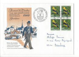 26040 - Journée Du Timbre Yverdon 1969 Pro Juventute Bloc De 4 Oiseaux  07.12.1969 Pour Porrentruy - Pro Juventute