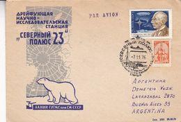 POLE DU NORD, ARCTIQUE. RUSSIA ENVELOPPE, CIRCULEE A BUENOS AIRES, ARGENTINE. ANNEE 1976 PAR AVION -LILHU - Covers & Documents