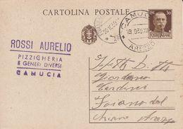 CAMUCIA - CORTONA - AREZZO - INTERO POSTALE - ROSSI AURELIO PIZZICHERIA E GENERI DIVERSI - ORDINE DI BACCALA' - 1939 - Arezzo