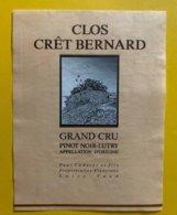 11625 - Clos Crêt Bernard Pinot Noir Lutry Paul Coderey - Etiquetas