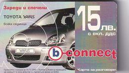 BULGARIA - Toyota Yaris, B Connect Prepaid Card 15 Leva, Exp.date 23/03/08, Used - Bulgarie