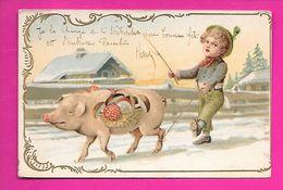 CPA  Cochons Humanisés Cochon Fil à La Patte , Champignons - Cerdos