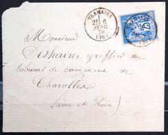 Cachet Type 16 Sur SAGE - TRAMAYES - SAONE ET LOIRE - LSC - 1878 - Marcophilie (Lettres)