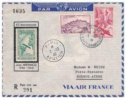 1946 - VIGNETTE AEROPOSTALE MERMOZ Sur LETTRE ENVELOPPE De PARIS AVIATION Pour BUENOS AYRES POSTE AERIENNE - Poste Aérienne