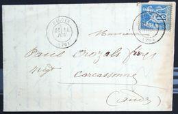 Cachet Type 17 Sans Date Sur SAGE - DIGOIN - SAONE ET LOIRE - LAC - 1882 - Marcophilie (Lettres)