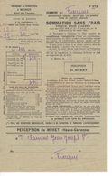794    31 Commune De Frouzins Sommation Sans Frais  Perception De MURET Clamens   5 Octobre 1938  Impôts - Frankreich