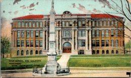 Iowa Davenport High School And Soldiers Monument 1915 - Davenport