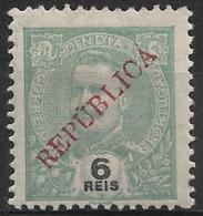 Portuguese India – 1914 King Carlos Local Overprint REPUBLICA 6 Réis Mint Stamp - India Portoghese