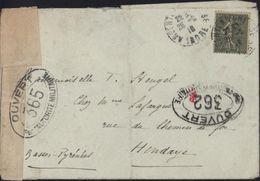 Guerre 14 18 YT 130 CAD Argenton Sur Creuse Censure Bande + Cachets Ouvert Par L'autorité Militaire 362 + 365 Bordeaux - Guerre De 1914-18