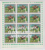 GUINEA  ECUATORIAL  7 FULL SHEETS DIFF.  IMPERF.  OLYMPIC  MUNICH 72 + HORSE   **MNH  Réf  G GF37 - Estate 1972: Monaco