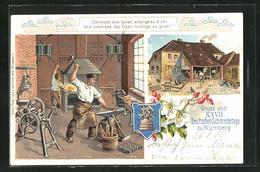 Lithographie Nürnberg, XXVII. Deutscher Schmiedetag, Schmied Bei Der Arbeit - Unclassified