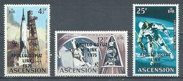 Ascension YT N°190/192 Coopération Spatiale USA-URSS Surchargé Apollo-Soyuz Link 1975 Neuf ** - Ascension