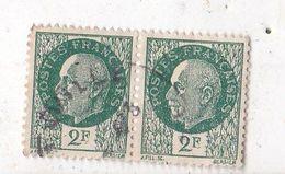 Bloc De 2 Timbres Petain Oblitérés De 2 F Couleur Vert - 1941-42 Pétain