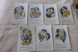 LOT DE 7 CARTES  ILLUSTRATIONS......COUPLES ...SIGNE RUDDY - 5 - 99 Postcards
