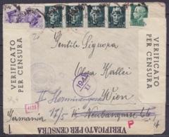 Italie - L. Affr. 1l35 Càd ? 1941 Pour WIEN Réexpédiée En Allemagne - Deux Sortes De Bandes De Censure Italienne (au Dos - Storia Postale