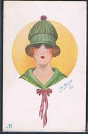 C038 ART DECO A/s LEON BALME FEMME MODE CHAPEAU HIGH FASHION LADY HAT - Künstlerkarten
