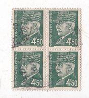 Bloc De 4 Timbres Petain Oblitérés De 4 F 50 Couleur Vert - 1941-42 Pétain