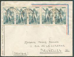 N°314(x15 Dont Bloc De 10 Au Verso) Obl; Sc LONS-le-SAUNIER Sur Lettre Du 27-6-1936 Vers Bruxelles. Affr. Spectaculaire - Lettres & Documents