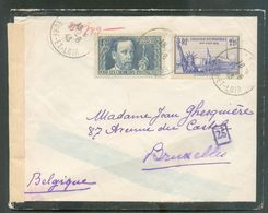 N°385-426 Obl. Sc ANET Sur Lettre De Deuil Censurée (C De Cologne) Du 17-6-1943 Vers Bruxelles + Censure Chimique TB - 1 - Covers & Documents