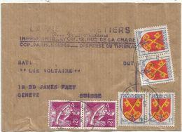 BLASON 1FR COMTATX4+ 12FR MOISSONNEUSEX2 ( 1COIN ARRONDI) BANDE COMPLETE LYON 5.11.1958 POUR SUISSE - 1941-66 Armoiries Et Blasons
