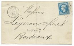 N° 22 BLEU NAPOLEON SUR LETTRE / LUCON VENDEE POUR BORDEAUX / 1862 - Marcophilie (Lettres)