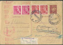 E.P. Carte 80c. PETAIN + Tp N°406(2)-412(2) Obl; Méc. PARIS XVII Du 25-9-1941 Vers Bruxelles + Censure De Cologne Et Eti - Guerres