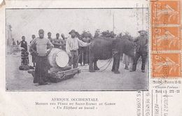 Mission Des Pères Du Saint Esprit Au Gabon Un éléphant Au Travail (coin Corné Cf Scan) - Gabon