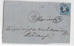 1872 - GIRONDE - SUPERBE CONVOYEUR STATION PODENSAC Avec BOITE MOBILE + CONVOYEUR STATION GIRONDE Au DOS ! Sur LETTRE - 1849-1876: Période Classique