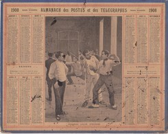 Calendrier 1908 ALMANACH Des Postes Et DesTélégraphes / PREMIERE LECON D'ESCRIME - Calendarios
