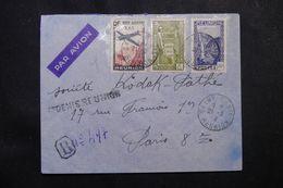 RÉUNION - Enveloppe En Recommandé Provisoire De St Denis Pour Paris En 1939, Affranchissement Plaisant  - L 62768 - Réunion (1852-1975)