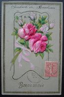 Cazes Mondenard 1907, Tarn Et Garonne Cacheté Tireté Sur Carte Avec Des Roses En Relief - Marcofilia (sobres)