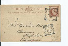 Prepaid  Squared Circle  Lynmouth   Barnstaple 1893 Devon - 1840-1901 (Victoria)