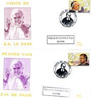 "A VOIR !! 2557/58 (pape Jean-Paul II Karol WOJTILA) :3 FDC 14-5-1994 Malonne - Bruxelles + ""VISITE AJOURNEE"" (2 Scan) - FDC"