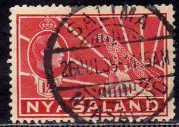 NYASALAND PROTECTORATED NYASSALAND 1938 1944 KING GEORGE VI AND LEOPARD RE GIORGIO 1 1/2p DARK CARMINE USATO USED OBLIT. - Nyasaland (1907-1953)