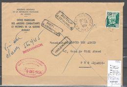 Maroc - Lettre De Rabat Pour Fes - Griffes Retour Et Inconnu à L'appel Des Facteurs - 1954 - Marocco (1891-1956)
