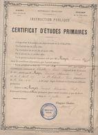 Chatillon Sur Seine (21 Côte D'Or) Certificat D'études Primaires 1888 (M0187) - Diploma's En Schoolrapporten