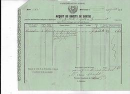 CONFEDERATION  SUISSE  - ACQUIT DE DROITS DE SORTIE  1858 - Documenti Storici