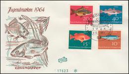 412-415 Jugend Fische 1964 Als Kompletter Satz Auf FIDACOS-FDC ESSt BONN 10.4.64 - [7] Federal Republic