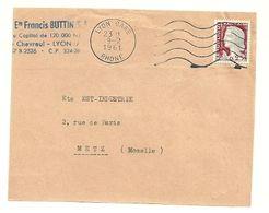 RHONE - Dépt N° 69 = LYON GARE 1961 = FLAMME Non Codée à DROITE = SECAP Muette '5 Lignes Ondulées' - Postmark Collection (Covers)