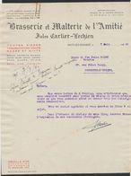 """Belgique - Facture Illustrée (Fayt-Lez-Manage 1940) : Brasserie & Malterie De L'Amitié """"Jules Carlier-Vechien"""" / Bière. - 1900 – 1949"""
