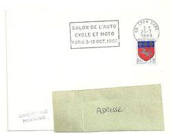 RHONE - Dépt N° 69 = LYON GARE 1968 = FLAMME SUPERBE = SECAP ' SALON AUTO CYCLE MOTO PARIS ' - Postmark Collection (Covers)