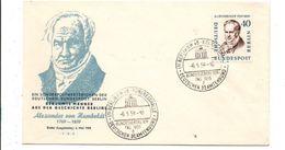 ALLEMAGNE RFA FDC ALEXANDER VON HUMBOLDT 1959 - FDC: Covers