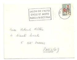 RHONE - Dépt N° 69 = LYON GARE 1966 = FLAMME Codée = SECAP ' SALON AUTO CYCLE MOTO PARIS ' - Postmark Collection (Covers)