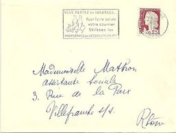 RHONE - Dépt N° 69 = LYON GARE 1962 =  FLAMME Non Codée = SECAP 'VOUS PARTEZ EN VACANCES ' - Postmark Collection (Covers)