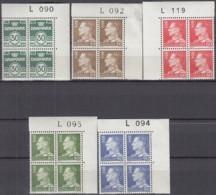 DÄNEMARK 456-460 Y, 4erBlock, Eckrand Oben Rechts, Postfrisch **, König Frederik IX. 1967 - Dänemark