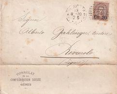 ITALIE 1890 LETTRE DU CONSULAT SUISSE A GENES - Storia Postale