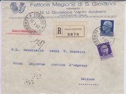 """POGGIBONSI - SIENA - BUSTA RACCOMANDATA FATTORIA """"MAGIONE DI S.GIOVANNI"""" DEL N.U. GIUSEPPE VANNI ANDREINI - 1935 - Siena"""